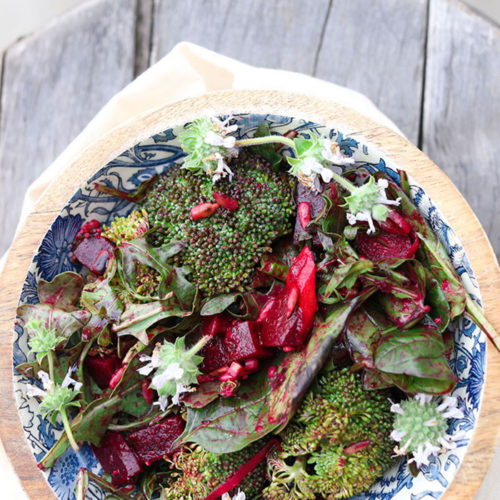 Broccoli Beet Salad with Sunflower Seeds and Arugula & Orange Chili Dressing
