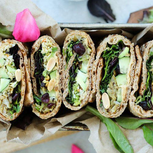 Spelt Flour Wrap with Fried Cabbage, Roasted Hummus, Peanuts & Cranberries
