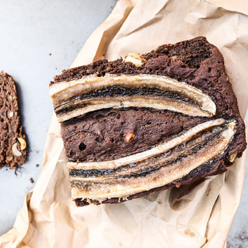 Yeasted & Unsweetened Chocolate Banana Bread