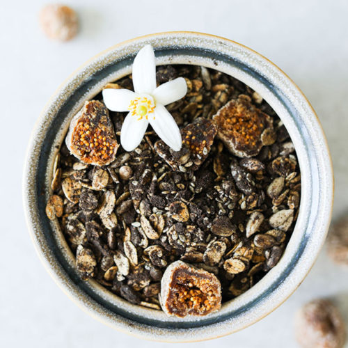 Charcoal Granola with Sesame & Sunflower Seeds & Dried Figs