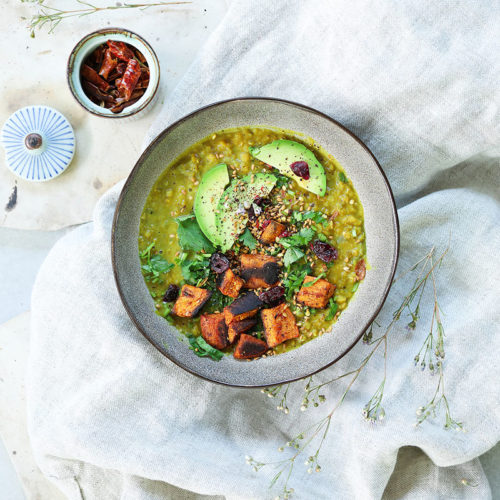 Lentil Coconut Soup with Roasted Sweet Potato, Avocado & Cranberries
