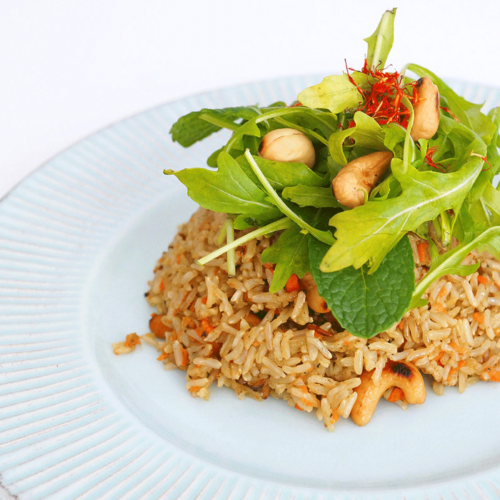 Fried rice with Mint and Arugula