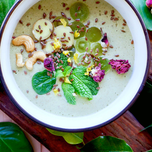 Grape Coconut Bowl with Cashews & Mint
