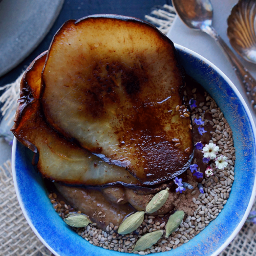 Chocolate Pudding with Caramelized Pear