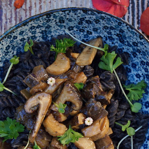 Gluten-Free Pasta Bowl with Roasted Mushrooms & Radish Sprouts