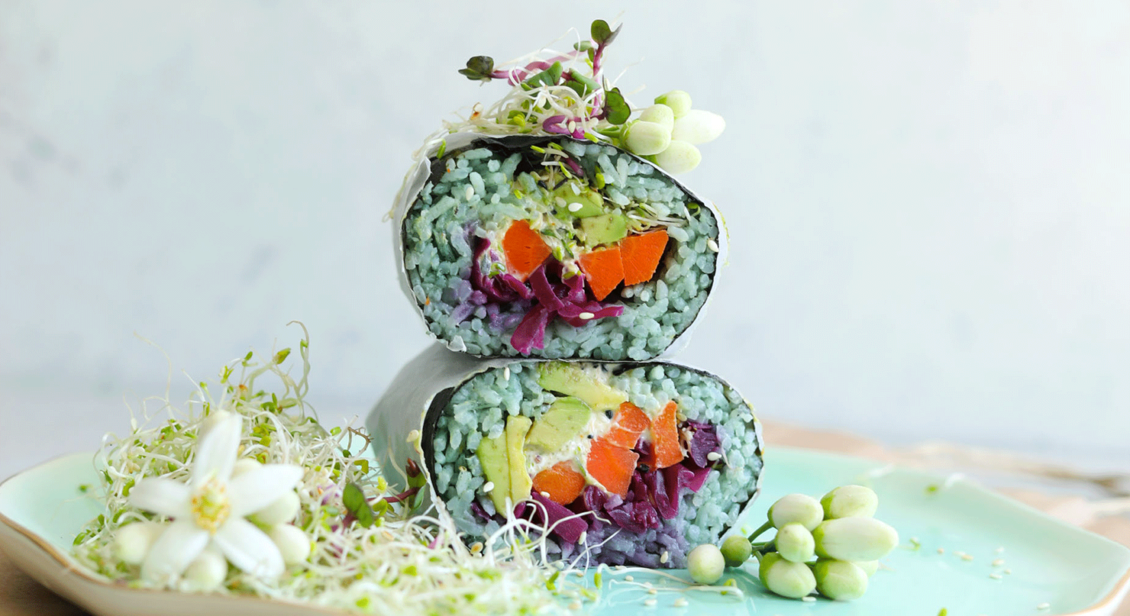 Sushi Burrito with Roasted Carrots, Avocado, Sprouts & Chili Aioli